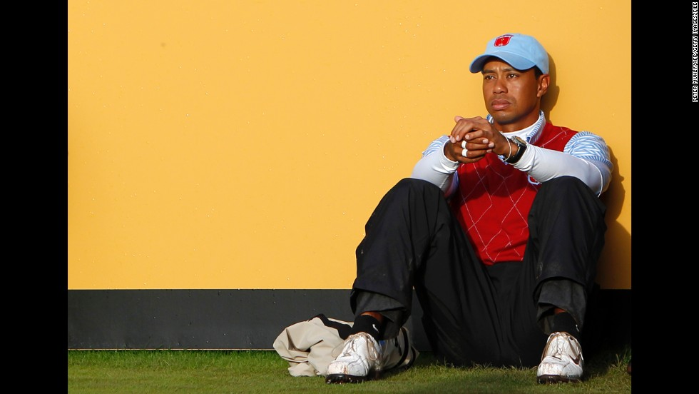 In October 2010, Woods appears dejected after losing a match to Lee Westwood and Luke Donald in the Ryder Cup teams competition in Wales. Later that month he lost his No. 1 ranking to Westwood, a position he had held for 281 consecutive weeks. He had taken a break from golf earlier that year after reports of marital infidelities emerged in late 2009.