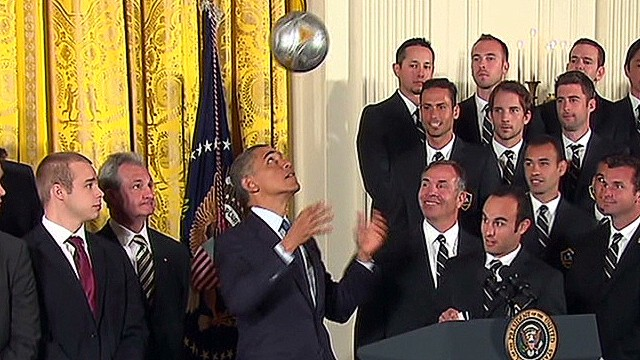 Obama shows off soccer talent