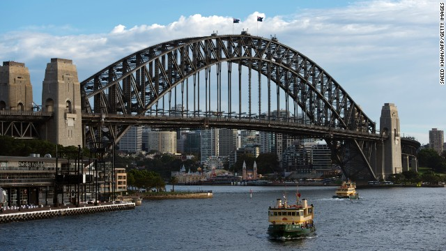 File photo of the Sydney Harbour. The Australian economy grew slower than expected.