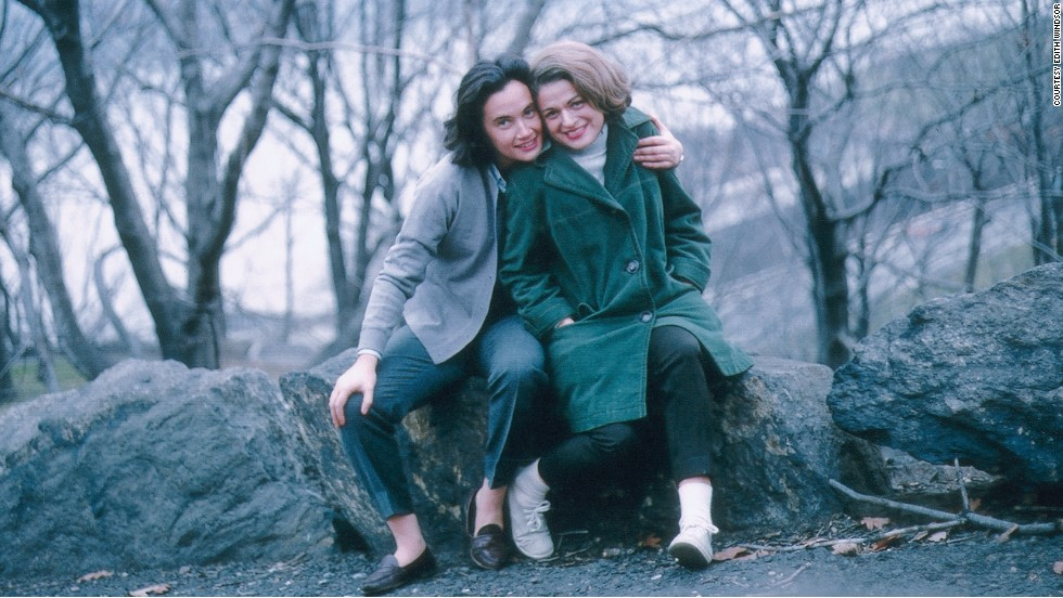 In this photo taken in the 1960s, Thea Spyer, left, poses with Edith Windsor at The Cloisters, in Washington Heights, New York City.