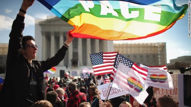 Protestors debate same-sex marriage outside the U.S. Supreme Court.
