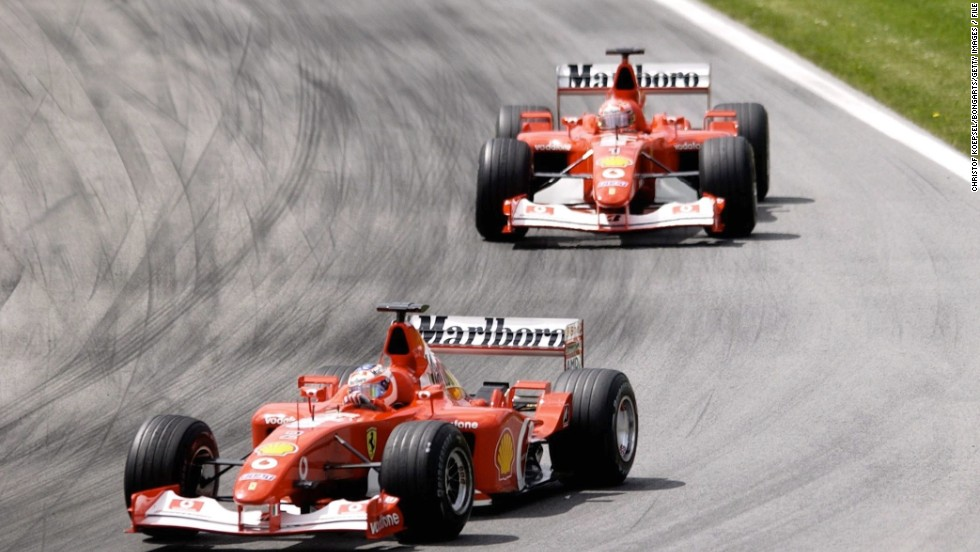 Barrichello led the 2002 Austrian Grand Prix before ceding position to his Ferrari teammate Michael Schumacher. Team orders were banned the following season.