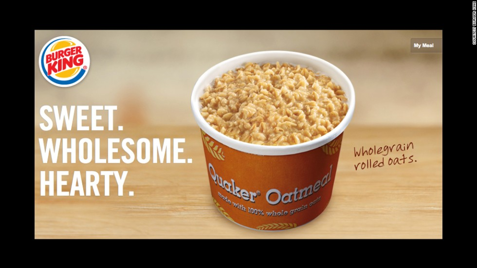 Burger King's maple-flavored Quaker oatmeal is a healthy option with whole grains.