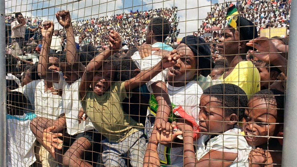 A day after his release from prison in February 1990, Mandela was greeted by thousands of South Africans at the Orlando stadium.