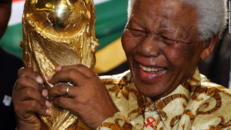 South Africa was awarded the right to stage the 2010 World Cup in 2004. It was a moment of great joy for former South African president Mandela.