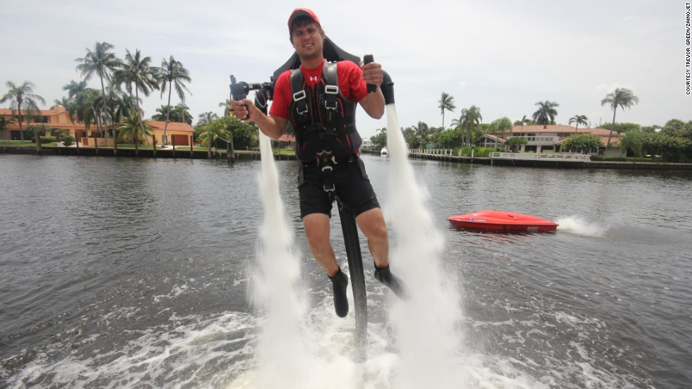 Launch yourself up to 30 feet in the air wearing a water-propelled jet pack.