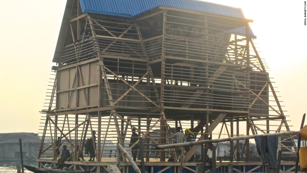 NGOs and other charities provided money to build the Makoko Floating School in Lagos, Nigeria. It has more than 300 students, all of whom travel to and from school via canoe.