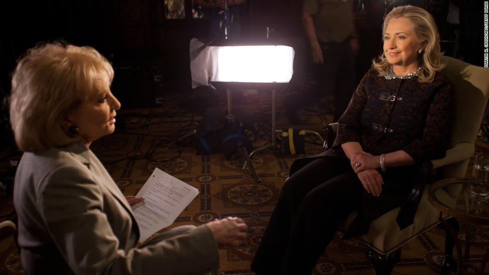 "Walters' annual specials on the year's ""most fascinating people"" focused on big names in entertainment, sports, politics and popular culture. In December 2012, she interviewed then-Secretary of State Hillary Clinton."