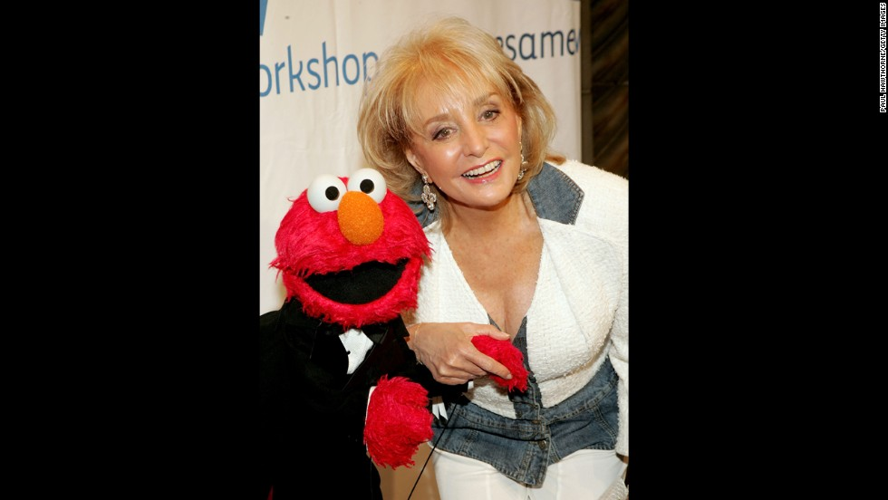 Walters and Elmo at the Third Annual Sesame Workshop Benefit Gala at Cipriani 42nd Street in New York in 2005.