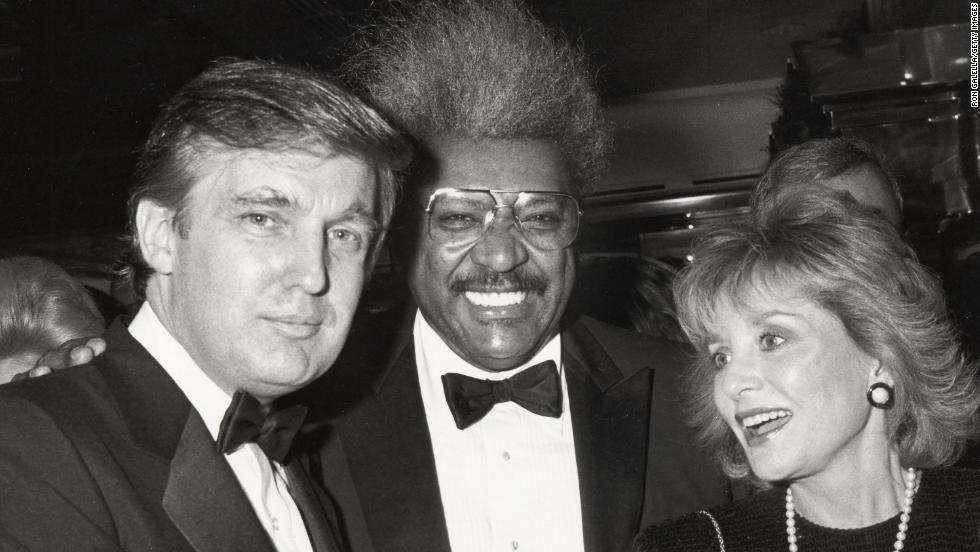 Donald Trump, Don King and Walters on December 12, 1987.