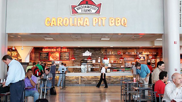 So meaty! Brookwood Farms BBQ at Charlotte Douglas International Airport.