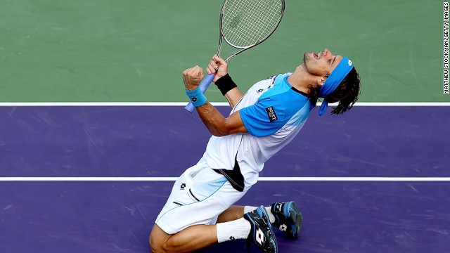 David Ferrer lets out his emotion after beating Tommy Haas to reach his first Miami Masters final.