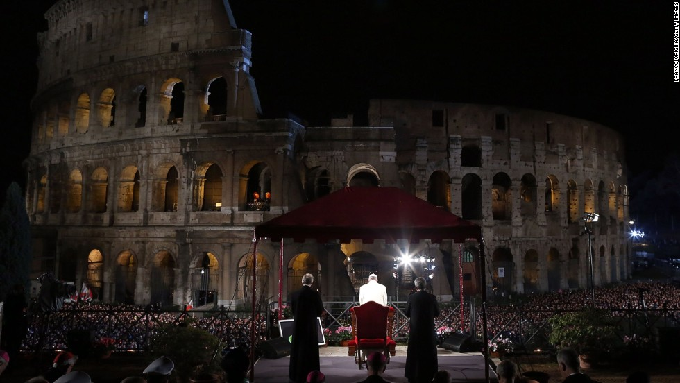 Pope Francis presides over the Way of the Cross procession at the Colosseum in Rome on Good Friday, March 29.