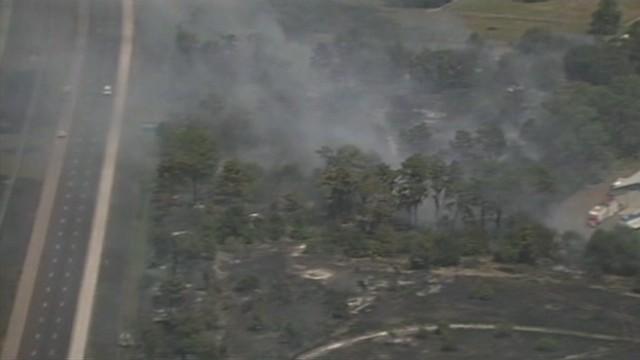 Aerials of dangerous brush fire