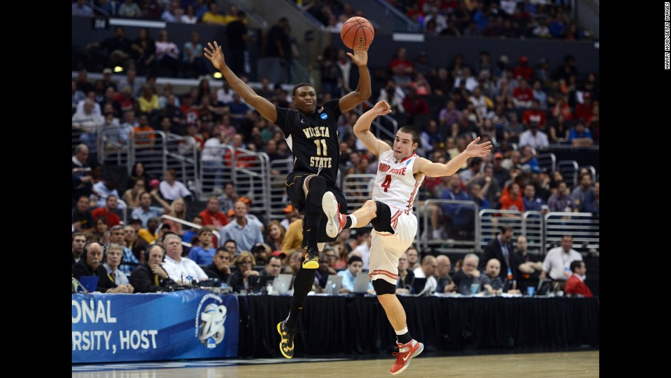 Cleanthony Early of Wichita State, left, and Aaron Craft of Ohio State go after a loose ball on March 30.