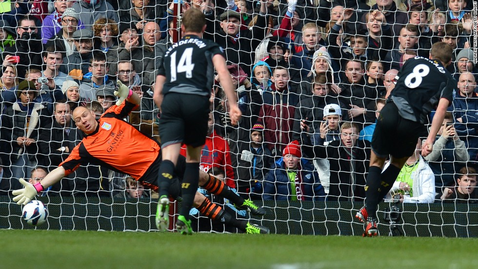 Liverpool captain Steven Gerrard fires the winner against Aston Villa, with the England midfielder's second-half penalty earning a 2-1 victory in the English Premier League clash.
