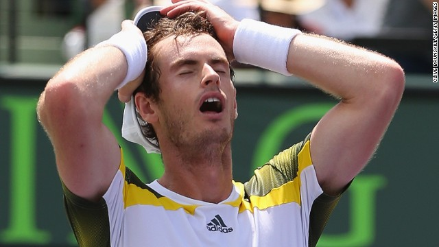 A relieved Andy Murray celebrates his victory in the Miami Masters final against Spain's David Ferrer at Crandon Park.