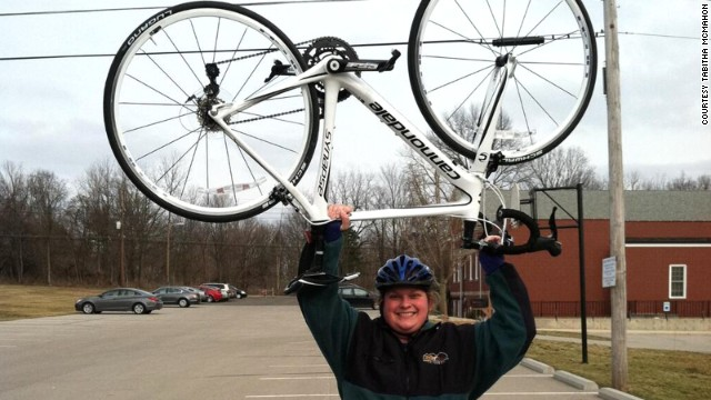 Fit Nation team member Tabitha McMahon celebrates her first weekend bike ride in March.