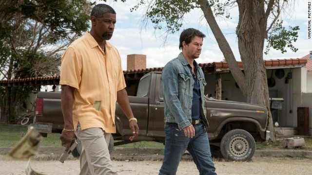"Denzel Washington and Mark Wahlberg star in ""2 Guns."""