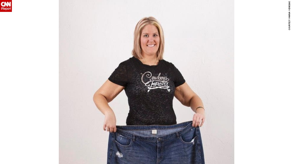 By taking Zumba classes five to six days a week, Tomsche has dropped 123 pounds.
