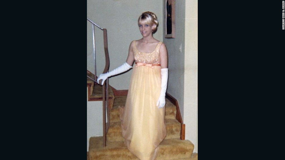 "1967: Nikki C. Morris wore a yellow dress and white gloves for her prom, but she says '60s fashion was too colorful for her tastes. ""I remember thinking that most of the dresses and the girls wearing them looked like Easter eggs,"" Morris says. ""I wasn't a fan."""