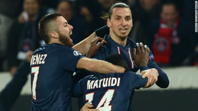 Ibrahimovic is hugged by goalscorer Blaise Matuidi, who kept PSG in the tie but who will miss the second leg through suspension