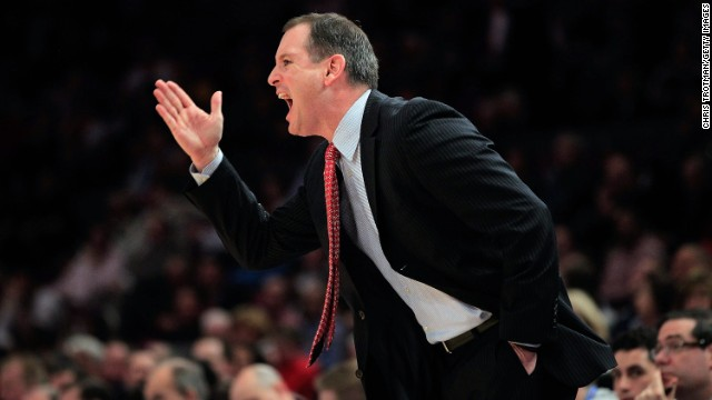Mike Rice, pictured in 2011, was fired as Rutgers' head basketball coach this week over a video of him abusing his players.