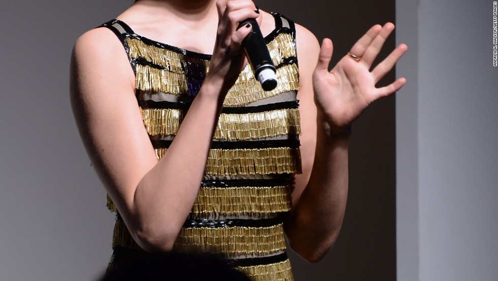 Emmy Rossum speaks at an event in New York City.
