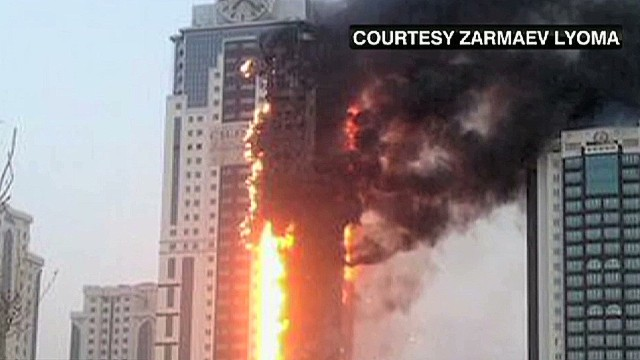 Skyscraper on fire in Chechnya