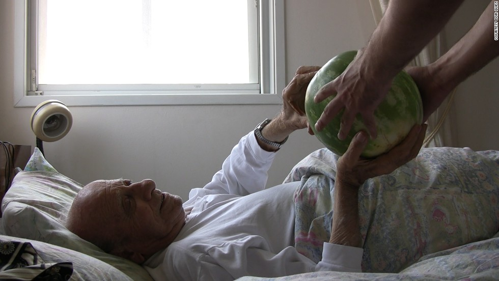 "Dor Guez's grandfather, Jacob Monayer, in a still taken from ""Watermelons under the bed."" In the video, Guez's grandfather and his uncle, Samih Monayer, relate how members of the family had to adapt to the founding of Israel in1948: ""He grew up with it, he evolved within it. If he wanted to survive and make a living, he had to adjust to the new situation, he had to keep going."""
