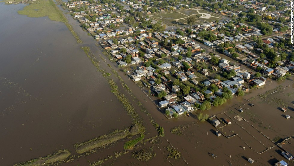 An aerial view shows a flooded area on the outskirts of La Plata on April 3. Thousands of residents have evacuated because of the rain, officials said.