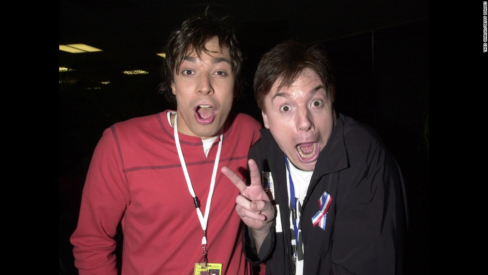 Fallon and Mike Myers backstage during the Concert for New York City at Madison Square Garden in New York in October 2001.