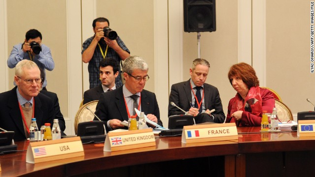 Envoys from six world powers and Iran discuss Iran's nuclear program in the Kazakh city of Almaty on February 27.