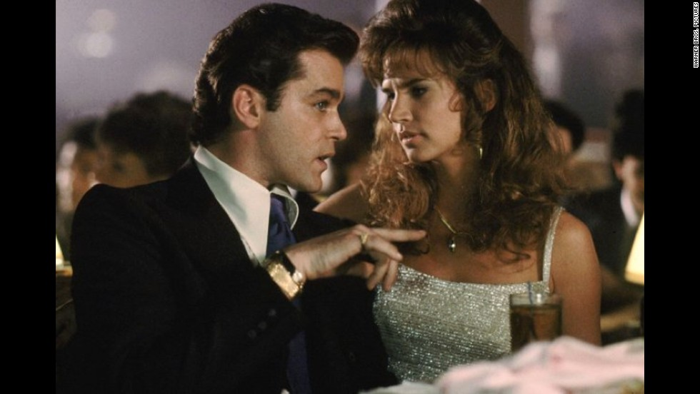 "Writing about ""Goodfellas,"" Ebert said, ""No finer <a href=""http://rogerebert.suntimes.com/apps/pbcs.dll/article?AID=/19900902/REVIEWS/9020301"" target=""_blank"">film</a> has ever been made about organized crime -- not even 'The Godfather,' although the two works are not really comparable."" Ray Liotta, here with Gina Mastrogiacomo, starred."