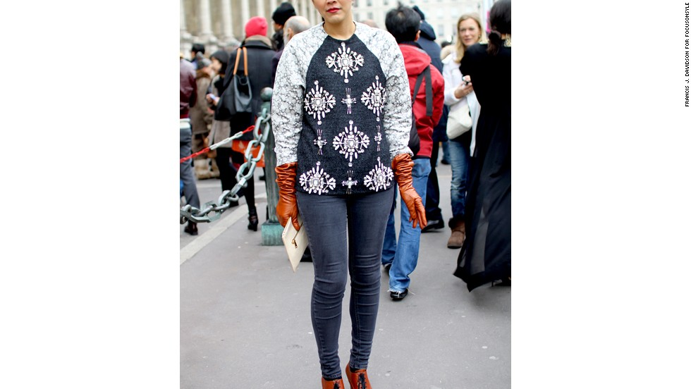 "The embellished sweatshirt may be the most radical makeover this athletic top has had since Jennifer Beals' ""Flashdance"" days. Seen here in Paris, the embellished sweatshirt can be made of cashmere or decorated in prints -- even a hologram print, Haver said. ""It looks really pretty with a pencil skirt or straight-leg pants,"" she said, and is very practical for unpredictable weather."