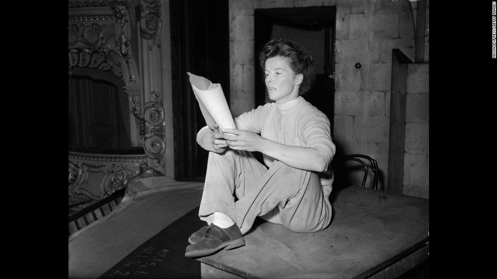 American actress Katharine Hepburn (1907-2003) was the quintessential tomboy in style and spirit. She wore pants and kept her hair short in an era when it was considered unladylike for women to deviate from dresses, stockings and girdles. She was known for being outspoken and assertive in her career choices, political views and personal life. She famously shunned the press and refused to conform to society's expectations of women when few stars would rebel.