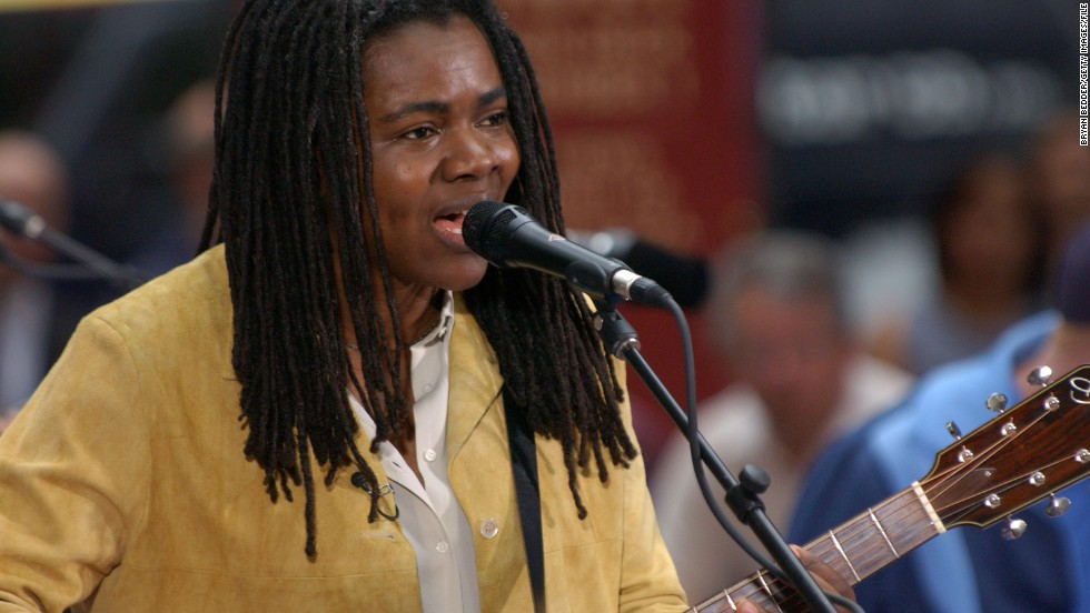 Grammy Award-winning singer-songwriter Tracy Chapman's typical onstage outfit consists of jeans and T-shirts with the occasional vest or blazer. Offstage, she lends her voice to social activism through a variety of causes related to human rights.