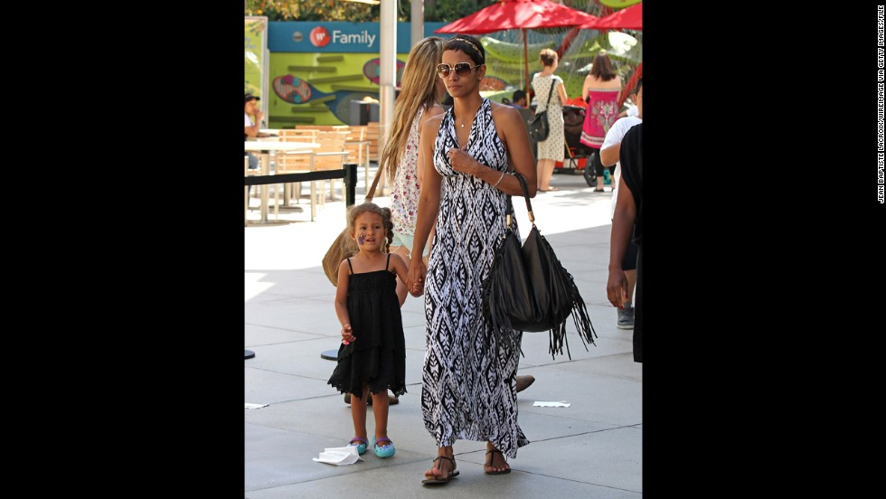 Halle Berry gave birth to her daughter, Nahla, in March 2008. Nahla's father is Gabriel Aubry. The actress, 46, is pregnant with her second child -- her first with husband Olivier Martinez.