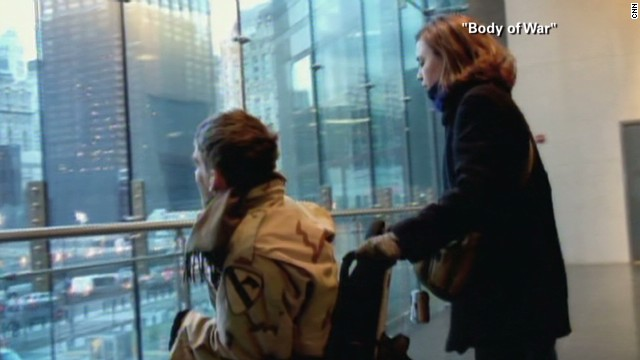 "In a scene from the documentary film ""Body of War,"" Young looks out onto Ground Zero in New York. He was propelled to join the Army because of the September 11 attacks."