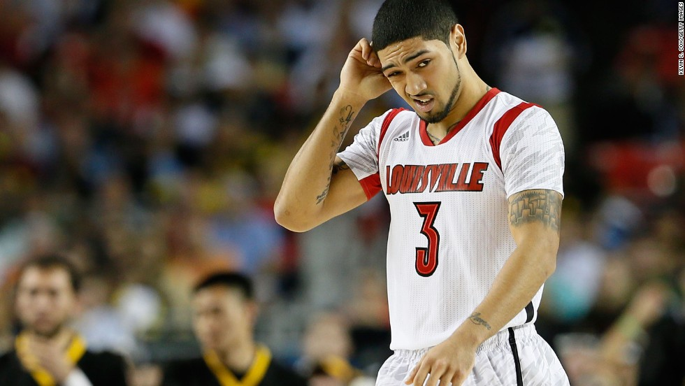 Peyton Siva of Louisville reacts in the second half against Wichita State.