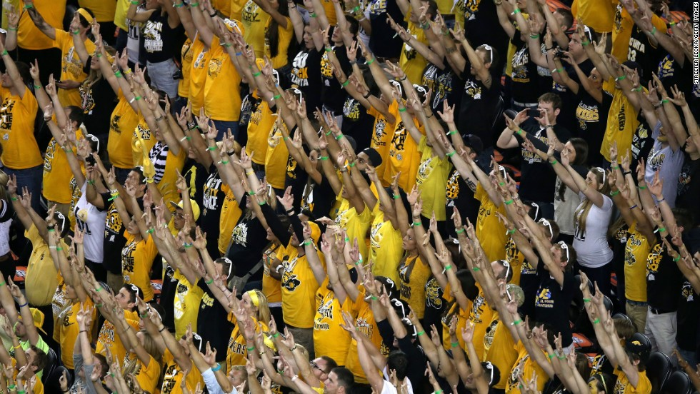 Fans of Wichita State support their team at the Georgia Dome in Atlanta.