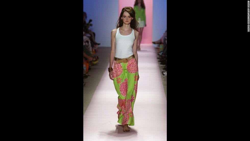 A model wears a long green patterned skirt at the 2005 show.