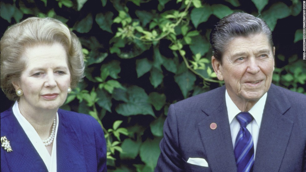 Thatcher and Reagan meet in the garden of the Cipriani Hotel in Venice, Italy, during an economic summit in June 1987.