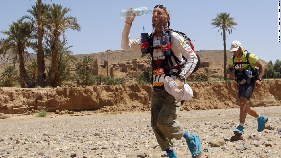 Competitors are provided with water and a tent but have to carry themselves all their equipment, including their food, in a rucksack.