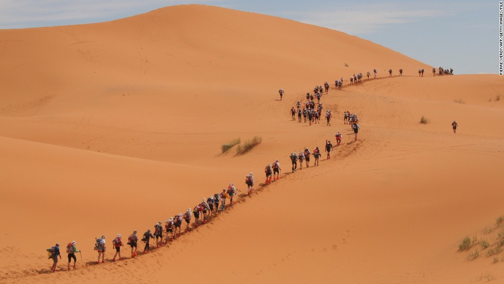 Marathon des Sables (MDS) is a grueling multi-stage running event that covers more than 220 kilometers, and is held each year in southern Moroccan Sahara.