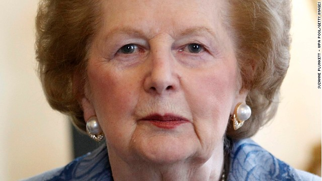 Former Prime Minister Baroness Thatcher looks towards the camera as she meets Prime Minister David Cameron inside Number 10 Downing Street on June 8, 2010 in London, England.