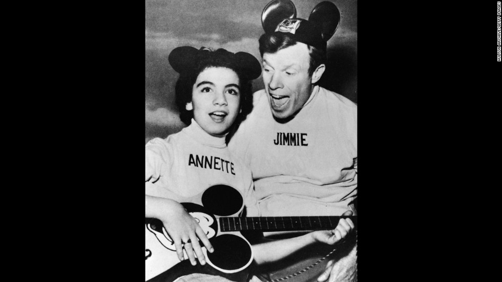 "Funicello and Jimmie Dodd promote ""The Micky Mouse Club"" in 1957. Walt Disney selected Funicello to be on the popular children's show when she was 12."