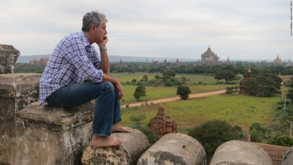 "In the ""Parts Unknown"" series premiere, Bourdain visited the Shwesandaw Pagoda in Bagan, Myanmar. After seeing so many world wonders, ""it's something really special to be thrilled by ruins -- hair stand-up-on-back-of-neck-excited by a view,"" <a href=""http://www.cnn.com/video/shows/anthony-bourdain-parts-unknown/episode1/"">Bourdain said</a>."
