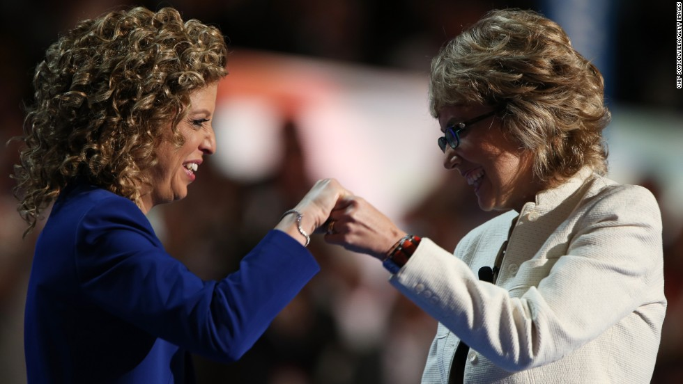 Wasserman Schultz and Giffords greet each other on stage at the Democratic National Convention in Charlotte on September 6, 2012.