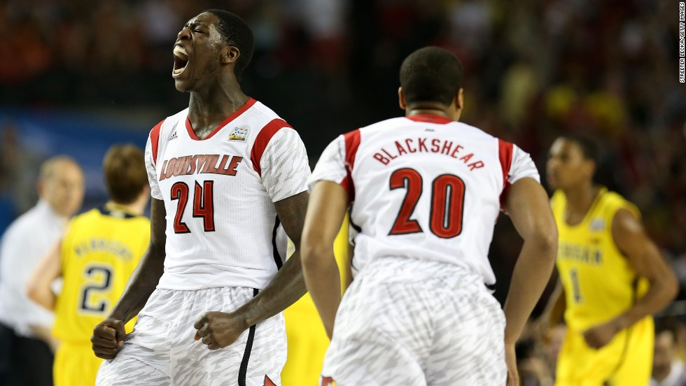 Montrezl Harrell, left, and Wayne Blackshear of Louisville react to a play.